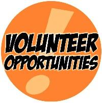 "An orange circle reading, ""Volunteer Opportunities."""